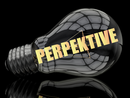 Perspektive - german word for perspective or prospects -  lightbulb on black background with text in it. 3d render illustration.