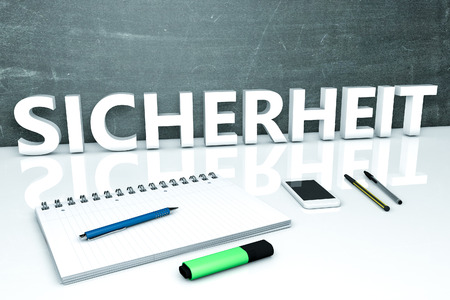sicherheit: Sicherheit - german word for safety or security - text concept with chalkboard, notebook, pens and mobile phone. 3D render illustration.