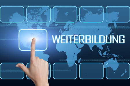 further education: Weiterbildung - german word for further education concept with interface and world map on blue background