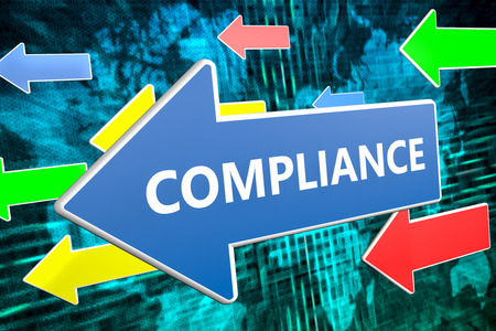 compliant: Compliance - text concept on blue arrow flying over green world map background. 3D render illustration.