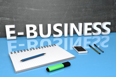 retailing: E-Business - text concept with chalkboard, notebook, pens and mobile phone. 3D render illustration. Stock Photo