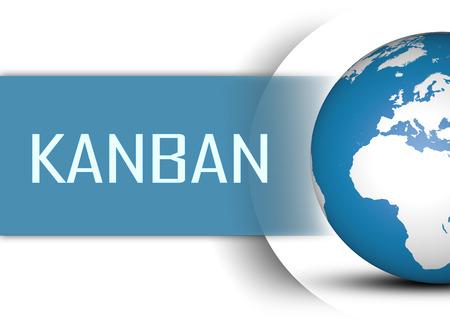 Kanban concept with globe on white background Stock Photo