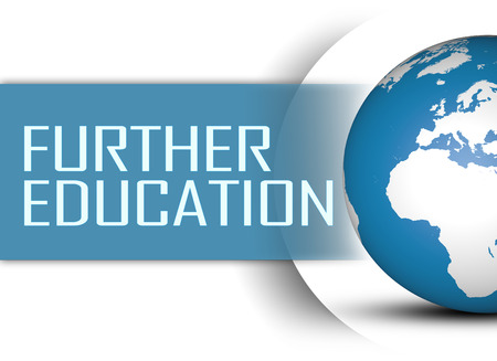 further education: Further Education concept with globe on white background