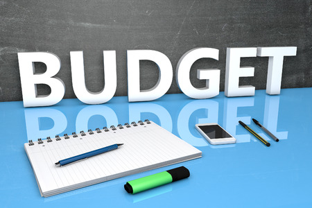budgets: Budget - text concept with chalkboard, notebook, pens and mobile phone. 3D render illustration.
