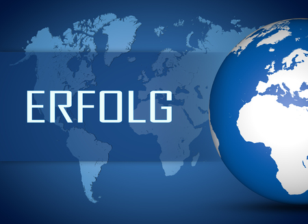 Erfolg - german word for success concept with globe on blue world map background Stock Photo