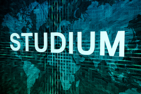 Studium - german word for studies or study text concept on green digital world map background Stock Photo