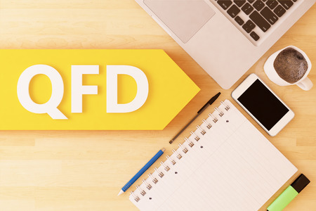 QFD - Quality Function Deployment - linear text arrow concept with notebook, smartphone, pens and coffee mug on desktop - 3d render illustration. Stock Photo