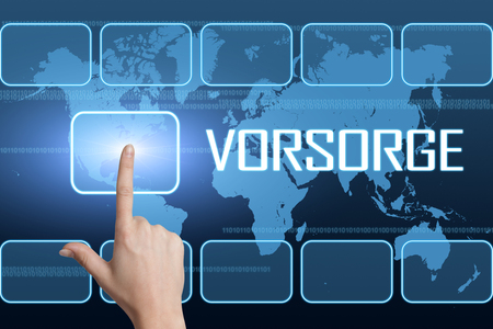 Vorsorge - german word for precaution or provision concept with interface and world map on blue background 版權商用圖片