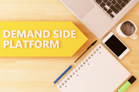 bidding: Demand Side Platform - linear text arrow concept with notebook, smartphone, pens and coffee mug on desktop - 3d render illustration.