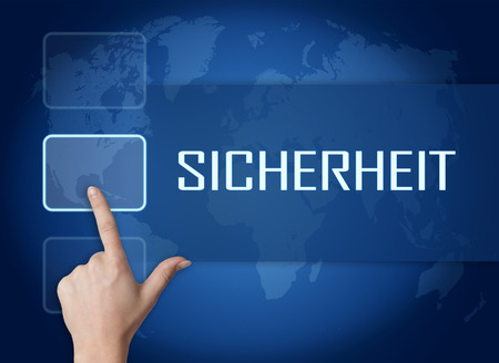 sicherheit: Sicherheit - german word for safety or security concept with interface and world map on blue background Stock Photo