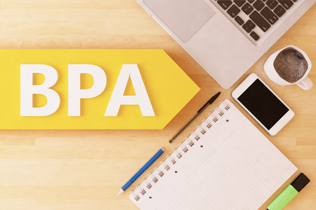 bpm: BPA - Business Process Analysis - linear text arrow concept with notebook, smartphone, pens and coffee mug on desktop - 3d render illustration.