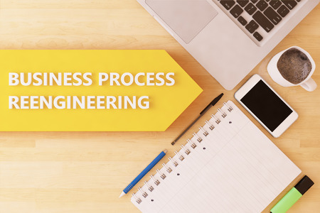 business process reengineering: Business Process Reengineering - linear text arrow concept with notebook, smartphone, pens and coffee mug on desktop - 3d render illustration. Stock Photo