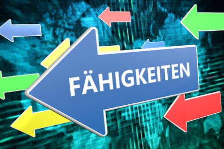 leading education: Faehigkeiten - german word for skills - text concept on blue arrow flying over green world map background. 3D render illustration.