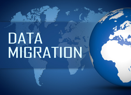 Data Migration concept with globe on blue world map background Stock Photo