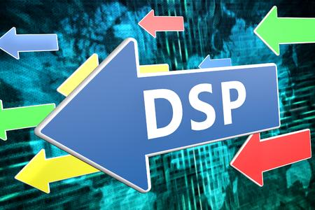 bidding: DSP - Demand Side Platform - text concept on blue arrow flying over green world map background. 3D render illustration.
