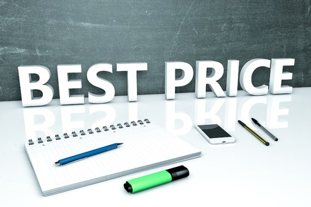 selling service: Best Price - text concept with chalkboard, notebook, pens and mobile phone. 3D render illustration. Stock Photo