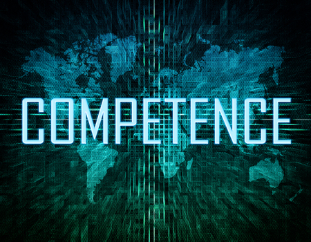 Competence - text concept on green digital world map background.