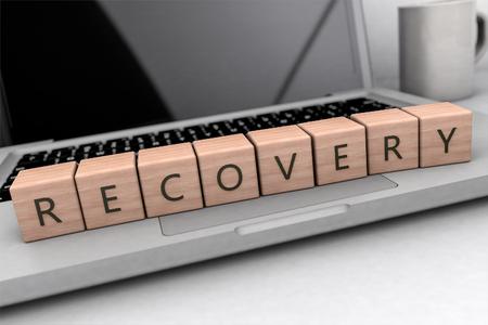 O conceito do texto da recuperação, cubos de madeira indicados por letras no computador portátil 3D rende a ilustração.