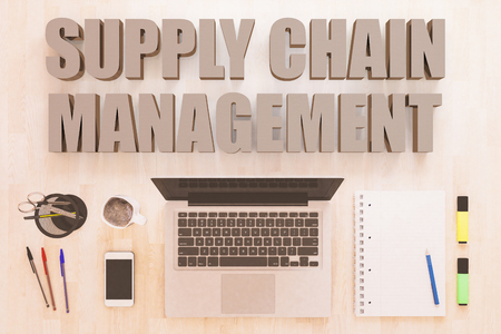 Supply Chain Management - text concept with notebook computer, smartphone, notebook and pens on wooden desktop. 3D render illustration. 版權商用圖片