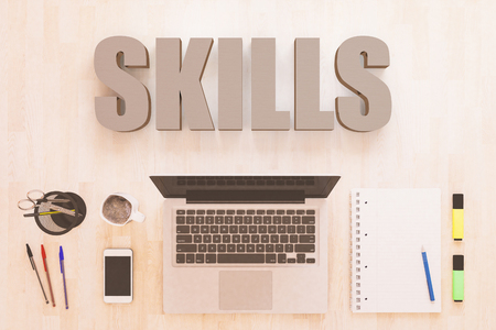 Skills - text concept with notebook computer, smartphone, notebook and pens on wooden desktop. 3D render illustration. Banque d'images