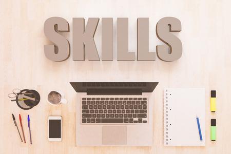 Skills - text concept with notebook computer, smartphone, notebook and pens on wooden desktop. 3D render illustration. Foto de archivo