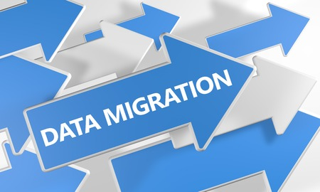 Data Migration - text concept with blue and white arrows flying over a white background. 3d render illustration.
