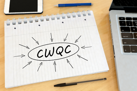 CWQC - Company Wide Quality Control - handwritten text in a notebook on a desk - 3d render illustration.