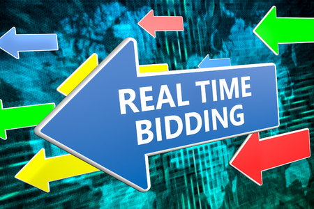 Real Time Bidding - text concept on blue arrow flying over green world map background. 3D render illustration.