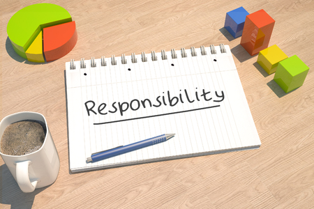 Responsibility - text concept with notebook, coffee mug, bar graph and pie chart on wooden background - 3d render illustration. Stock Photo