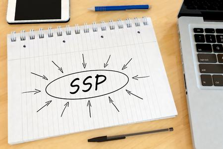 SSP - Supply Side Platform - handwritten text in a notebook on a desk - 3d render illustration.