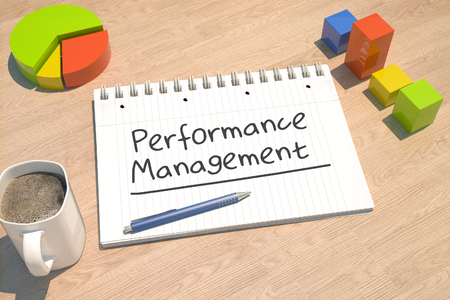 Performance Management - text concept with notebook, coffee mug, bar graph and pie chart on wooden background - 3d render illustration. Stock Photo