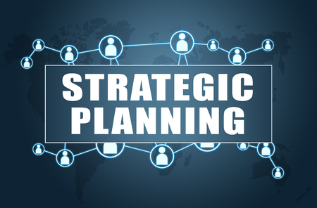 Strategic Planning - text concept on blue background with world map and social icons. Stock Photo