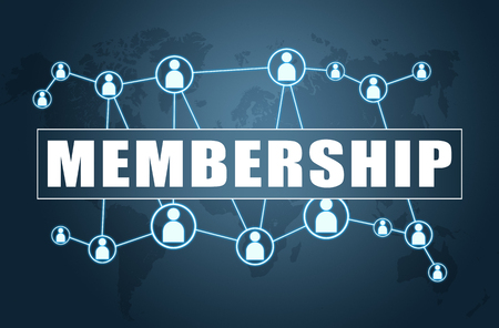Membership - text concept on blue background with world map and social icons. Archivio Fotografico