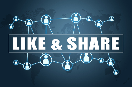 Like and Share - text concept on blue background with world map and social icons. Stock Photo