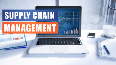 Supply Chain Management text concept with modern laptop screen in office environment. 3D render illustration business text concept. Stock Photo