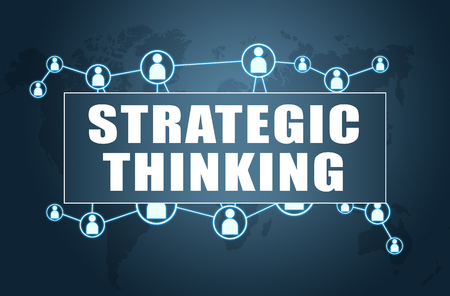 Strategic Thinking - text concept on blue background with world map and social icons.