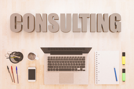 Consulting - text concept with notebook computer, smartphone, notebook and pens on wooden desktop. 3D render illustration. Stockfoto