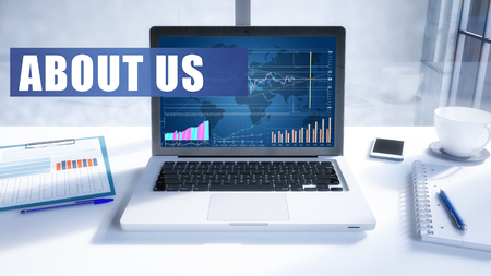 About us text on modern laptop screen in office environment. 3D render illustration business text concept.