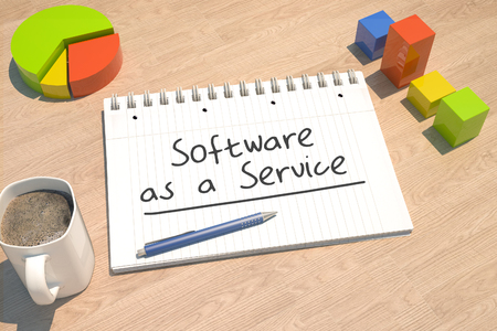 Software as a Service - text concept with notebook, coffee mug, bar graph and pie chart on wooden background - 3d render illustration. 版權商用圖片