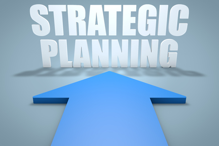 Strategic Planning - 3d render concept of blue arrow pointing to text.