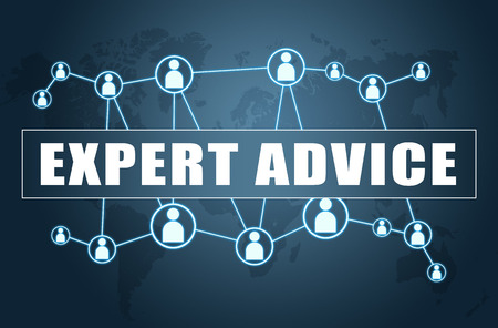 Expert Advice - text concept on blue background with world map and social icons. Stockfoto