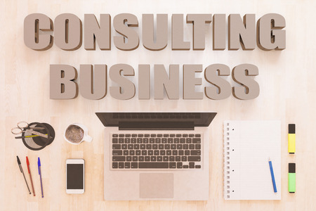 Consulting Business - text concept with notebook computer, smartphone, notebook and pens on wooden desktop. 3D render illustration.