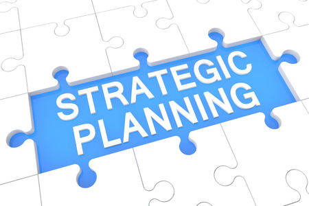 Strategic Planning - puzzle 3d render illustration with word on blue background Foto de archivo