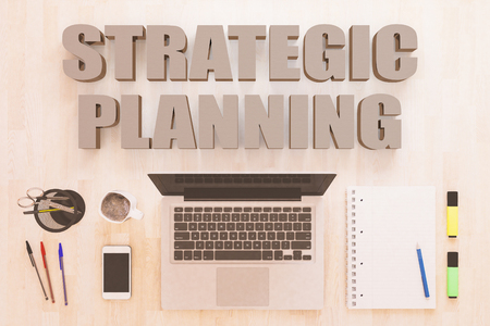 Strategic Planning - text concept with notebook computer, smartphone, notebook and pens on wooden desktop. 3D render illustration.