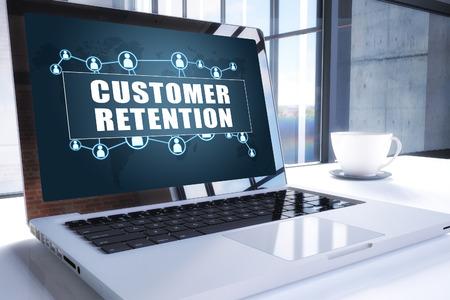 Customer Retention text on modern laptop screen in office environment. 3D render illustration business text concept. Reklamní fotografie
