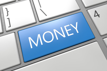 Money - keyboard 3d render illustration text concept with word on blue key.