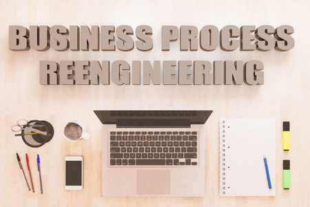 Business Process Reengineering - text concept with notebook computer, smartphone, notebook and pens on wooden desktop. 3D render illustration. Stock Photo