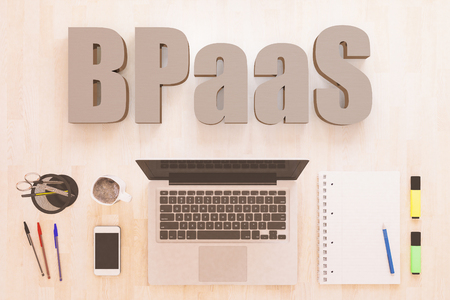 BPaaS - Business Process as a Service - text concept with notebook computer, smartphone, notebook and pens on wooden desktop. 3D render illustration. Stockfoto