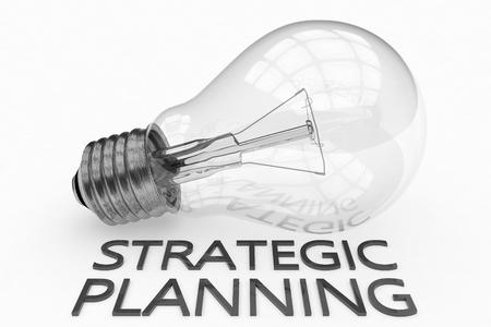 Strategic Planning - lightbulb on white background with text under it. 3d render illustration. Stock Photo