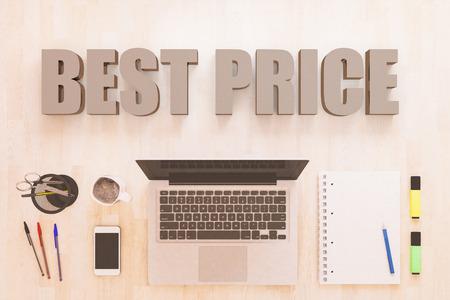 Best Price - text concept with notebook computer, smartphone, notebook and pens on wooden desktop. 3D render illustration. Stock fotó
